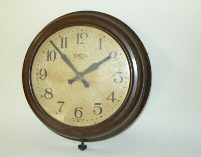 Vintage SMITHS 8-day Office Dial Wall Clock Bakelite case mechanical bottom wind