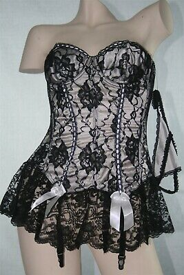 Black Lace Corset Fredericks of Hollywood Bows Garters G-String - Size 34