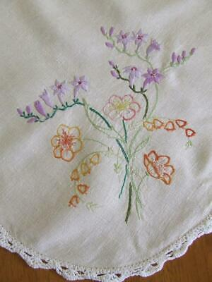 Vintage Hand Embroidered Tablecloth - Purple Bell Flowers & Others -Crochet Edge