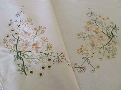Lovely Vintage Hand Embroidered Floral Tablecloth - Lace Edge - Never Used