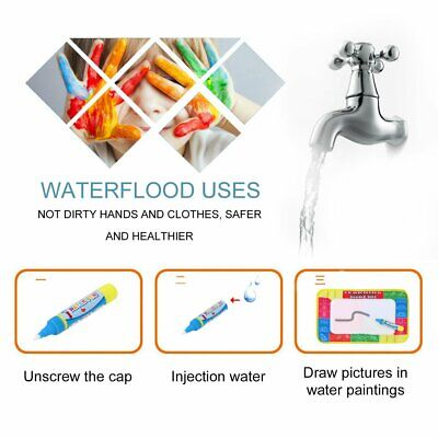 Kids Write Draw Paint Water Canvas Magic Doodle Mat With Pen Brushes 29*19Cm FY