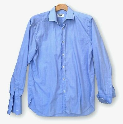 Brioni for Neiman Marcus Mens L 16.5 Blue Textured Check French Cuff Shirt Italy