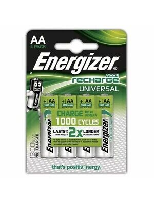 Energizer AA 1300mAh Ni-MH Rechargeable Batteries Pre Charged MN1500 HR6 LR6 X 4