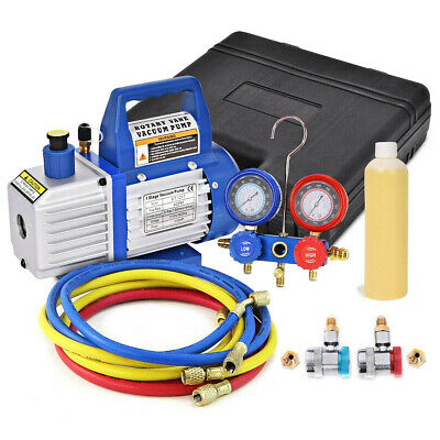 4CFM Rotary Vane Vacuum Pump Single Stage HVAC 1/3HP Air Conditioning A/C Deep