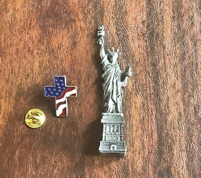 Decor New York Monument Statue of Liberty Figurine Paperweight Office & Pin New.