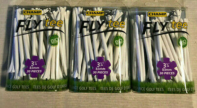 """3 Packs Champ Zarma Fly 3 1/4"""" Zero Friction White Golf Tees 90 Tees Total NEW"""