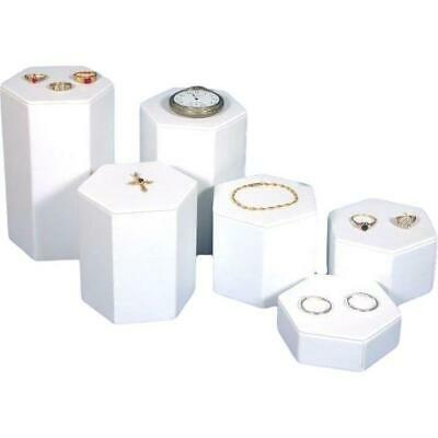 """6 White Faux Leather Jewelry Showcase Display Risers 1"""" to 6"""""""