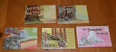 5 Rare Postcard Books California, Disneyland, L.a., Big Trees, Muir Woods