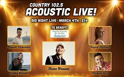 Country 102.5 Acoustic Kane Brown at Big Night Live Tickets Boston, MA 3/4/20