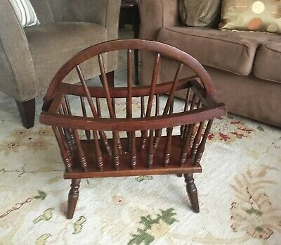 Antique Oak Turned Spindle Colonial Canterbury Magazine Book Rack