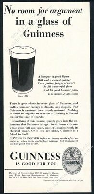 1937 Guinness Stout beer pint glass art No Room For Argument vintage print ad