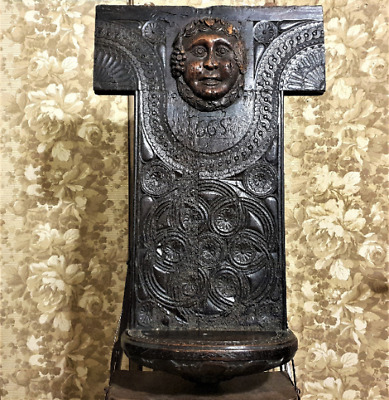 Timeworn gothic rosette wall shelf Antique french statue architectural salvage