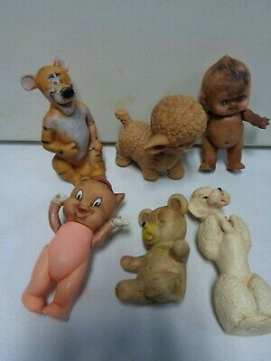 6 1960's Plastic Rubber Figures with Porky Pig and Tigger