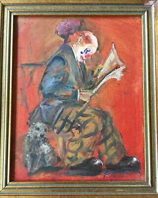Vintage  Mid Century Italian Oil On Canvas Clown With Dog Painting  Signed