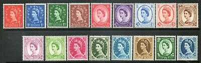 GB 1960 Wilding Set (17) Multiple Crowns Phosphor Unmounted Mint (MNH)sg610-618a