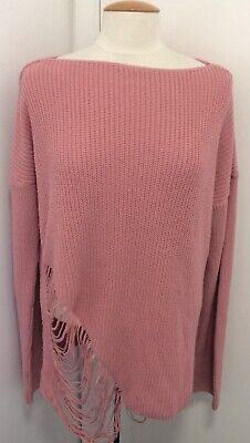 PRETTY LITTLE THING oversize Pink ripped effect Jumper sweater size 8