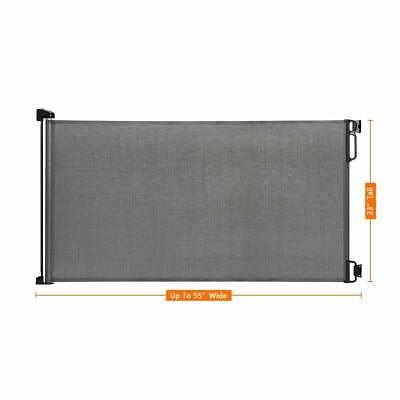 """Indoor Outdoor Retractable Baby Gate, 33' Tall, Extends Up To  55"""" Wide Grey"""