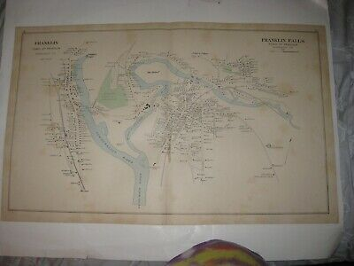 Antique 1892 Hooksett Franklin & Falls Lake City New Hampshire Handcolor Map Nr