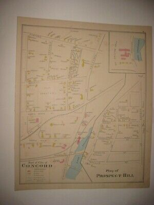 Antique 1892 Concord Prospect Hill New Hampshire Map Page Belting Company Rare