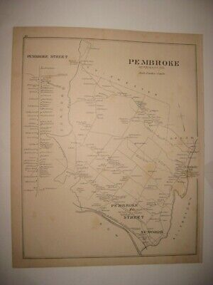 Antique 1892 Pembroke & Street Suncook New Hampshire Map Detailed Fine Rare Nr