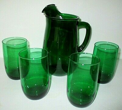 Forest Green Anchor Hocking Glass Juice Set, Pitcher & 4 Glass Tumblers