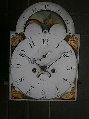 C1820 8 day LONGCASE GRANDFATHER CLOCK moonphase DIAL+movement 12x17 inch      '