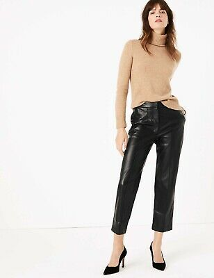 Marks & Spencer Leather Look Evie Straight Leg Pintuck 7/8th TROUSERS 18 Reg NEW