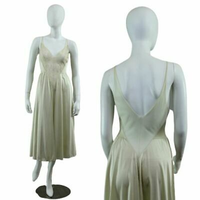 Vintage Olga 91140 Champagne Lace Nylon Sheer Scooped Back  Midi Nightgown S-M