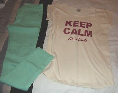 Girls La Redoute Green Skinny Jeans & Keep Calm & Smile T-Shirt Outfit 12 yrs