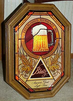 1982 BLATZ BEER Bubbling MOTION Stained Glass Mug Of Beer & Logo SIGN (NOS)