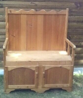 WAXED-PINE-MONKS-BENCH LOVE SEAT THRONE  two doors/storage under seat