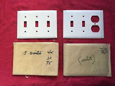 Lot Of 2 Nos Vintage Bakelite Ribbed White Ivory Multi Switch Receptacle Covers!