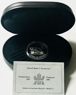 CANADA - Queen Elizabeth II - Russell Touring Car - $20 - 2001 Proof Silver Coin