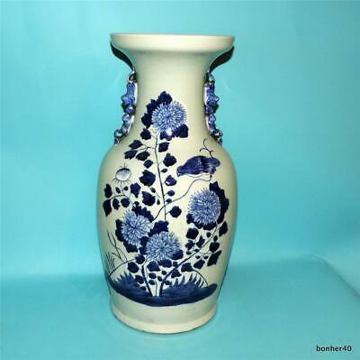 CHINESE PORCELAIN 19thc CELADON BLUE WHITE BIRD BALUSTER VASE FOO DOG HSIEN FENG