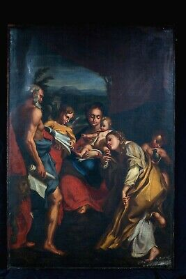 Huge 18th Century Italian Old Master Madonna Christ St Jerome Mary Magdalene