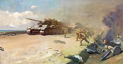 Large 20th Century WWII Russian T-34 Tanks & Infantry Battle Scene Oil Painting