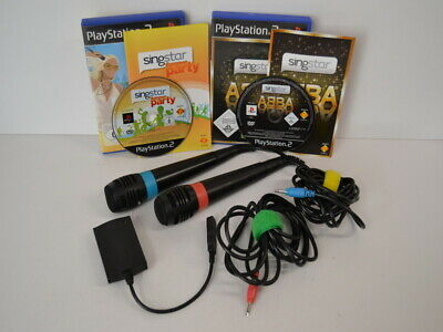 2 ) PS2 Playstation 2 Sing Star 2 Mikrofone USB 2 Spiele ABBA + Summer Party