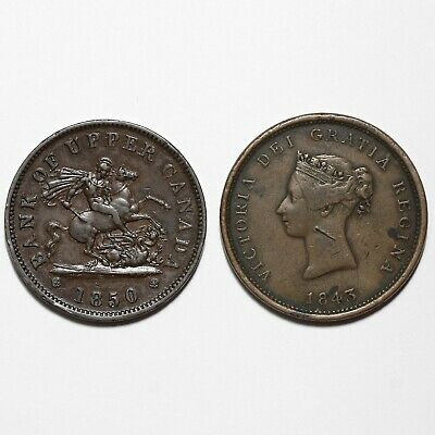 1843 & 1850 Victoria New Brunswick & Upper Canada Copper Penny 1D Tokens  Coins
