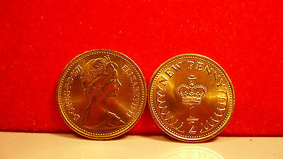 1971 British half pence piece Coin,UNC condition.finished in 24ct gold