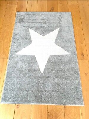 Baby Nursery Soft Kids Rug Grey & Large White Star Latex Backing 100 X 150cm