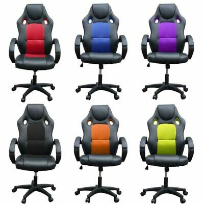 Office Sport Racing Game Chair Computer Seat PC Tub Swivel High Adjustable