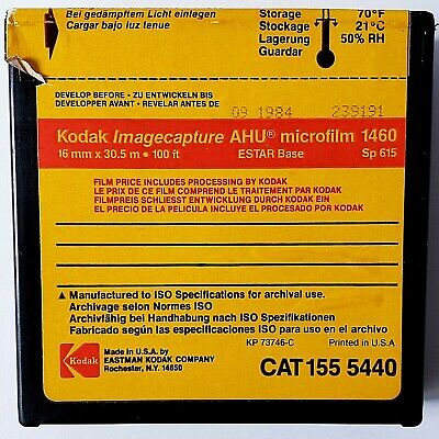 Kodak ImageCapture AHU Microfilm 1460 16mm x 30.5m 100 ft Dated 09/1984 ESTAR