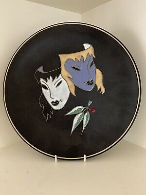 Ruscha Pottery Large Plate Masked Ladies West German Pottery 1950's Mid Century