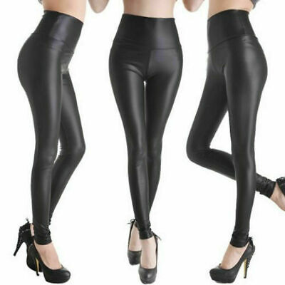 Wome High Waist Black Faux Leather Leggings Wet Look Shiny Stretchy Tight Pant