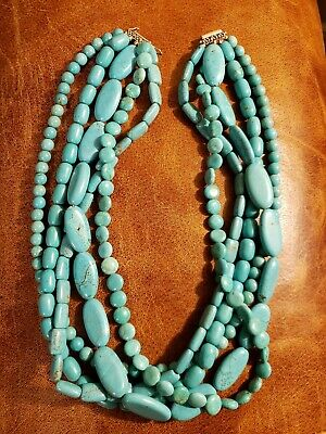 Vintage Chinese Blue Turquoise Beads 5 Strand Necklace  21.5 inches 324 grams