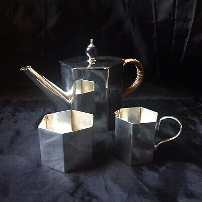Edwardian Bachelors Tea Service, Silver Plated Three Piece, Arts & Crafts Style