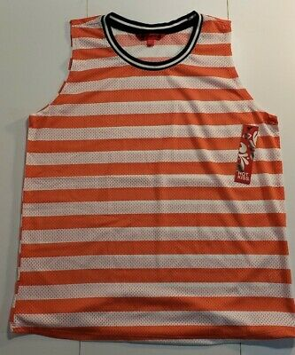 Hot Kiss Womens Tank Top Red White Striped Mesh size L