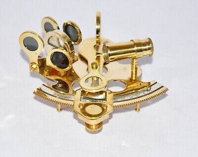 """Nautical 3"""" solid brass sextant maritime astrolabe marine ships instrument gift"""
