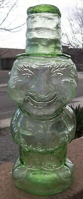 Very Rare Antique Blown Glass Figural Decanter of Old Man by the Indiana Glass