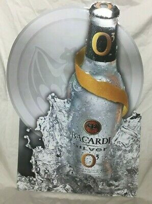 Bacardi Silver Tin Metal Sign 2003 Large Very Sharp!